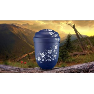 Biodegradable Cremation Ashes Funeral Urn / Casket - BLUE, PURPLE & WHITE FLORAL DECORATION