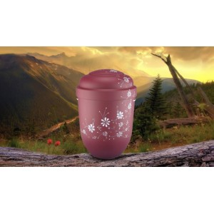 Biodegradable Cremation Ashes Funeral Urn / Casket - BORDEAUX & VIOLET FLORAL DECORATION