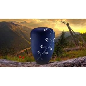 Biodegradable Cremation Ashes Funeral Urn / Casket - BLUE & PURPLE FLORAL DECORATION