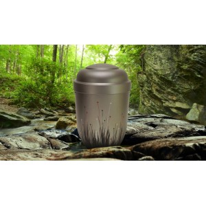 Biodegradable Cremation Ashes Funeral Urn / Casket - FREEDOM GREY (WOODLAND BUDS)