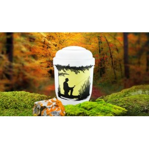 Biodegradable Cremation Ashes Funeral Urn / Casket - FISHERMAN / ANGLER