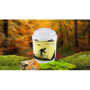 Biodegradable Cremation Ashes Funeral Urn / Casket - CYCLIST / RIDING