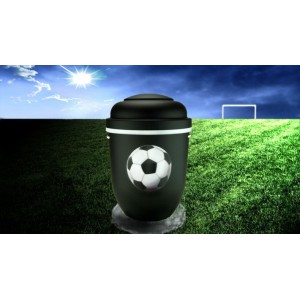 Biodegradable Cremation Ashes Funeral Urn / Casket - BLACK & WHITE (FOOTBALL)