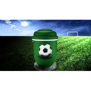 Biodegradable Cremation Ashes Funeral Urn / Casket - GREEN & WHITE (FOOTBALL)