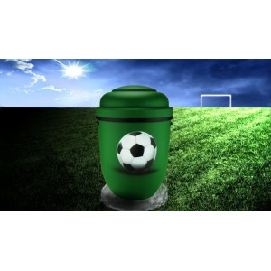 Biodegradable Cremation Ashes Funeral Urn / Casket - GREEN & BLACK (FOOTBALL)