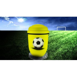 Biodegradable Cremation Ashes Funeral Urn / Casket - YELLOW & BLACK (FOOTBALL)