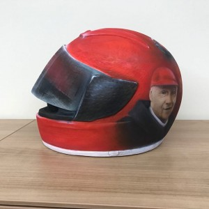 Hand Crafted Wooden Cremation Ashes Urn – Custom Made Ferrari Racing Driver Design Helmet