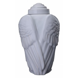 Angelic Wings - Ceramic Cremation Ashes Urn – White
