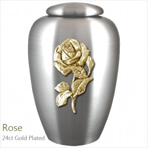 The English Pewter Cremation Ashes Urn – Rose in Full Bloom – Gold Plated Adornment
