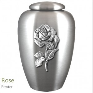 The English Pewter Cremation Ashes Urn – Rose in Full Bloom – Solid Pewter Adornment