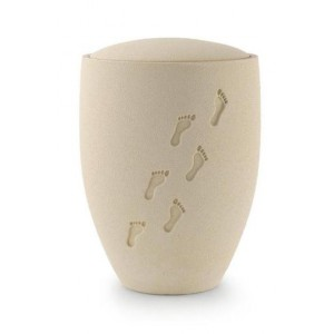 Biodegradable Urn (Natural Stone with Embossed Footprints)