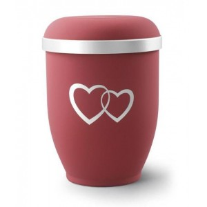 Biodegradable Urn (Red with Silver Heart Design)