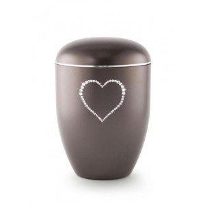 Biodegradable Swarovski Heart Urn (Chocolate)