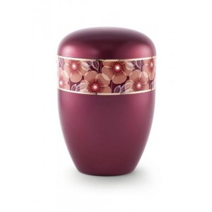 Biodegradable Urn (Flower Border - Burgundy)