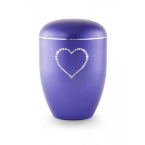 Biodegradable Swarovski Heart Urn (Violet)