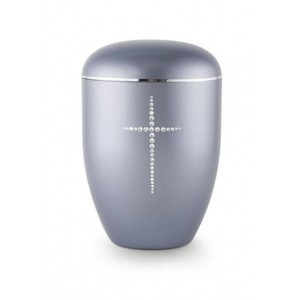 Biodegradable Swarovski Cross Urn (Steel Grey)
