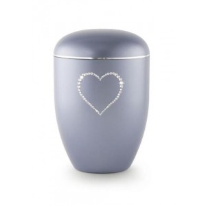 Biodegradable Swarovski Heart Urn (Steel Grey)