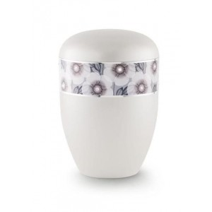 Biodegradable Urn (Flower Border - White)