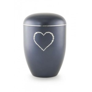 Biodegradable Swarovski Heart Urn (Midnight Blue)