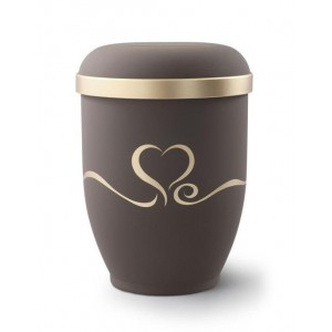 Biodegradable Urn (Brown with Gold Heart Design) **LOWEST ONLINE PRICES**