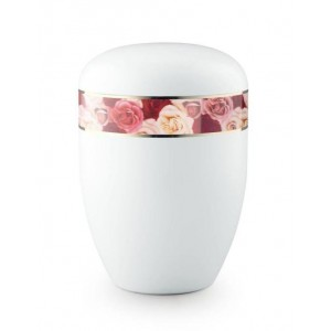 Biodegradable Urn (White with Roses Border) **Stunning Floral Design**