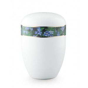 Biodegradable Urn (White with Forget Me Not Border)