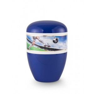Biodegradable Urn (Blue with Football Border)
