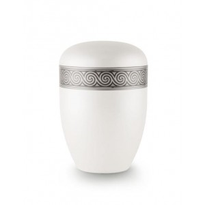 Biodegradable Urn (White with Silver Spiral Border)