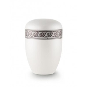 Biodegradable Urn (White with Silver Wave Border)