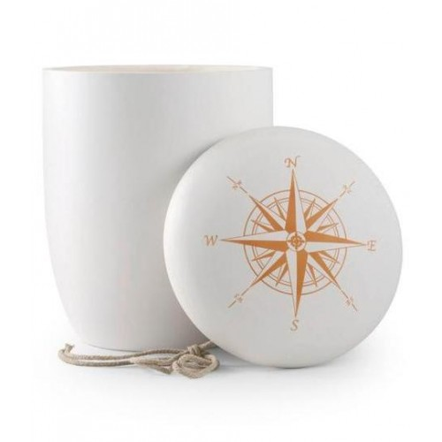 Biodegradable Urn (White with Compass Lid)