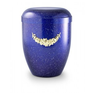 Biodegradable Urn (Blue with Gold Motif)