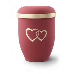 Biodegradable Urn (Red with Gold Heart Design)