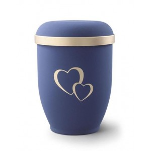 Biodegradable Urn (Blue with Gold Heart Design)