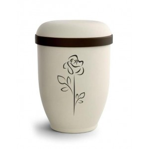 Biodegradable Urn (Natural Stone with Rose Design)