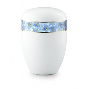 Biodegradable Urn (White with Blue Flower Band)