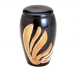 Brass Keepsake Small Urn (Pewter with Gold Detail)
