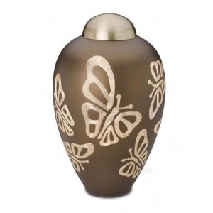 Brass Urn (Brown with Butterflies)