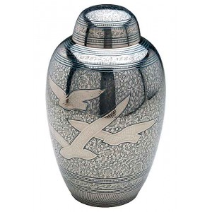 Brass Urn (Silver and Blue with Flying Birds Design)
