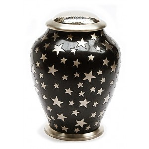 Simplicity Brass Cremation Ashes Urn (Black with Silver Stars)