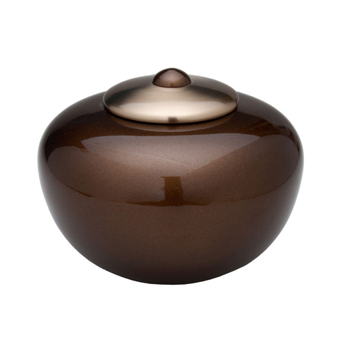 Round Simplicity Cremation Ashes Urn (Brown)