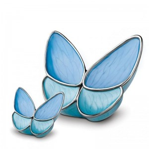 Brass Cremation Ashes Urn (Butterfly with Blue Wings)