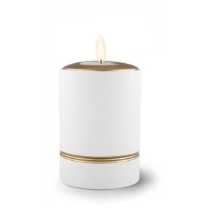 Ceramic Candle Holder Keepsake Urn (Linea Design) – WHITE