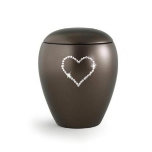 Ceramic Cremation Ashes Keepsake Urn – Swarovski Heart (Chocolate)