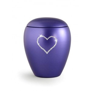 Ceramic Cremation Ashes Keepsake Urn – Swarovski Heart (Violet Blue)