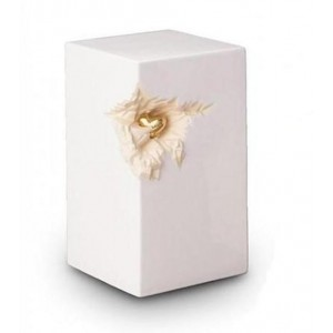 Ceramic Urn (White with Gold Recessed Heart Motif)