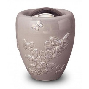 Ceramic Urn (Beige with Butterfly Decoration)