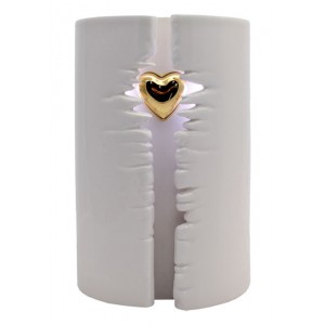 Wrapped Heart LED Ceramic Cremation Ashes Urn (White) - **Always In My Heart**