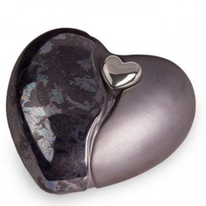 Ceramic Heart Urn (Graphite with Silver Heart Motif)