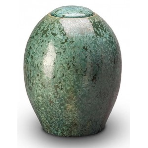 Ceramic Cremation Ashes Urn – Imperial Mottled Green - Intricately Hand Made By Skilled Craftsmen