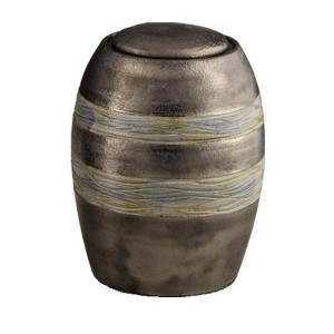 Medium Ceramic Urn – Brown with Grey Textured Stripes